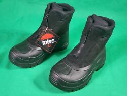 TOTES WATERPROOF THERMOLITE INSULATION BLACK WINTER SNOW BOOTS MEN#x27;S SZ US 9M 42 $29.00