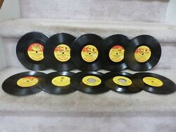 10 Vintage 45 And 78 Rpm Lp Records Peter Pan Children Records Christmas Popeye