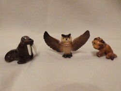Lot Of 3 Vintage Hagen Renaker Pieces Walrus Style One Retired Owl And Lion 1.62