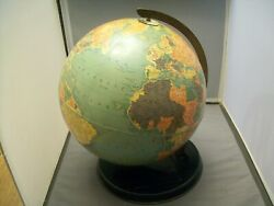Very Old Antique Metal Frame 12 World Globe With Stand