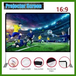 Projector Screen w Stand 120 inch Portable Projection Screen 16:9 4K Theater US
