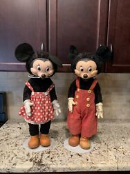 Antique 1940's Disney Gund Mickey And Minnie Mouse Doll Large