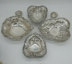 Gorham Sterling Silver Six Heart Shape Dishes Graduated Sizes 1417 Grams