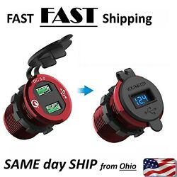Red Boat Marine Dash Or Surface Mount Usb Fast Dual Charger Volt Meter Aluminum