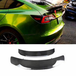 Real Carbon Fiber Gt Style Rear Boot Spoiler Wing Flap For Tesla Model 3 17-2021