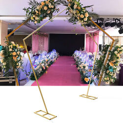 99 Gold Arch Backdrop Stand Pentagon Double Bar Rack Wedding Event Decoration