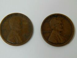 Us Penny Coin Lincoln Wheat One Cent Lot Of 2 1918 S 1917 S