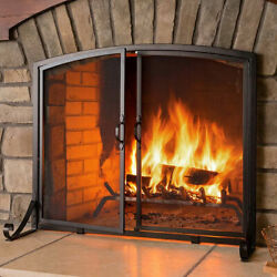 Solid Fireplace Screen With Magnetic Doors Free Standing Fireplace Spark Guard