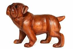 Wooden Hand Carved Walking English Bulldog Statue Figurine Sculpture Art Large
