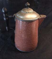 Antique Manning Bowman And Co Enamel Coffee Pot