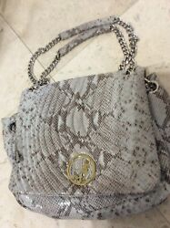 New No Tags Henri Bendel Gray Snakeskin Chain Straps Shoulder Purse Store Closed
