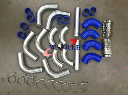3 76mm Universal Aluminum Intercooler Turbo Pipe Piping Kit + Blue Hose+ Clamps