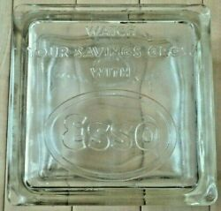 Vintage Original Esso Oil Co. Glass Block Coin Bank - Very Good Condition