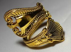 Gold Gilded Fanciest 1895 Towle Old Colonial Sterling Silver Spoon Ring Sz 7