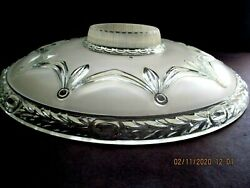 Huge Vtg Art Deco Ceiling Lamp Shade Heavy Pressed Glass Opaque 3 Hole 17