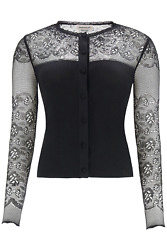 New Alexander Mcqueen Cardigan With Lace 650325 Q1as2 Black Authentic Nwt