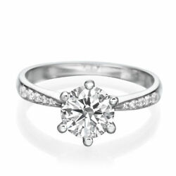 2/3 Ct Diamond Engagement Ring Round Cut H/si2 950 Platinum Size Selectable