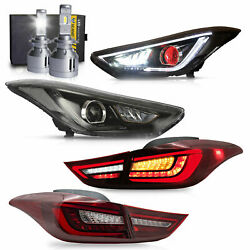 Demon Headlights+red Taillights+d2s Bulbs For Elantra 11-16 Sedan 13-14 Coupe