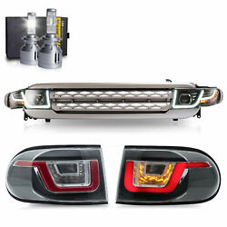 Led Headlights + Silver Grille +led Taillights+h7 Led Bulbs For 07-14 Fj Cruiser