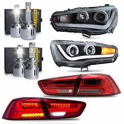 Led Headlights W/dual Beam+red Clear Taillights+h1andh7 Led Bulbs For 08-17 Lancer
