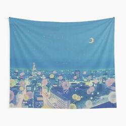 Sailor Moon Background City at Night Tapestries Sailor Moon Wall Tapestry