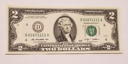 Two Dollar Bill 2009 Special Fancy Serial Number 0167 1111 Quad 1