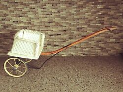 Antique Wicker Doll Or Toy Pull Cart