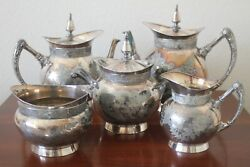 Antique Rogers Smith And Co New Haven 1902 Silverplate 5 Piece Coffee/tea Set