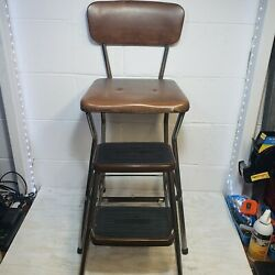 Vintage Cosco Brown Pull Out Step Stool Kitchen Seat Booster Chair Usa Vtg