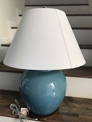 Porcelain Green Ginger Jar Table Lamp 24andrdquo Tall New
