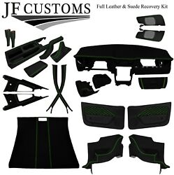 Green Stitch Suede+leather Covers For Ford Mustang 05-09 Interior Recovery Kit