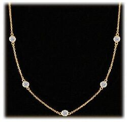 1 Ct Round Diamond By The Yard Necklace 18k Yellow Gold 5 X .20ct F-g Vs/si1 83