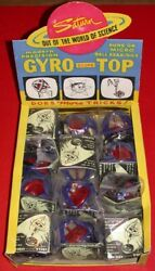 Set Of 12 Vintage Micro Ball Bearing Gyro Scope Top Toys In Store Display Box