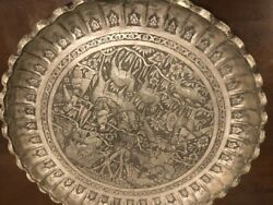 Very Fine Antique Qajar Persian Hand Carved Silver Decorative Tray
