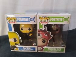 Funko Pop Lot Of 2 Fortnite Raptor And Tricera Ops Games 436 And 462