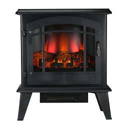 1400w 23 Electric Fireplace Space Heater Log Flame Stove Free Standing Gj