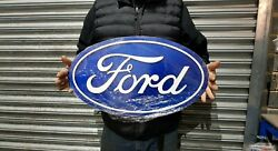 Large 24 X 14 Ford Oval Metal Sign Man Cave/ Garage/ Shed