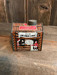 Antique Towles Log Cabin Syrup Tin Box C 1920and039s Little Girl Cartoon Vintage 1901