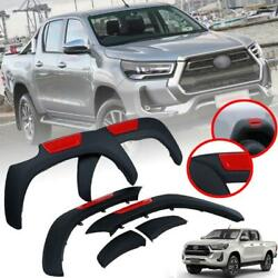 Fender Flares Wheel Arch Matte Black Red For Toyota Hilux Pickup 4wd 2020-2021