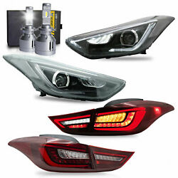 Free Shipping To Pr For Elantra 11-16 Sedan Coupe Head-and Red Taillights+h7 Bulbs