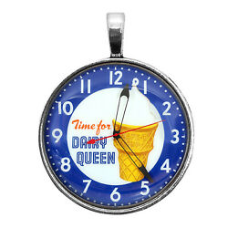 Dairy Queen Clock Image Key Ring Necklace Cufflinks Tie Clip Ring Earrings