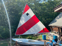 Sunfish Sailboat For Sale. Classic Red And White Sail. Trailer Included
