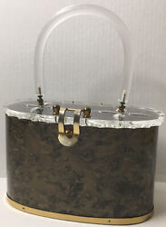 Vtg Llewellyn Inc Copper Pearlized Lucite Purse Handbag Mid Century Clasp Signed