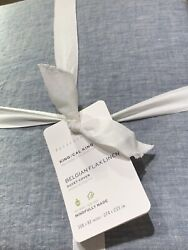 New Pottery Barn Belgian Flax Linen King /cal King Duvet Cover Chambray And2 Shams
