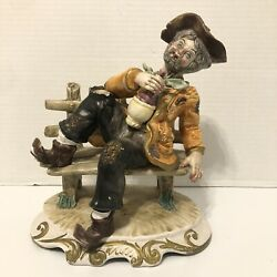 Large Vintage Capodimonte Bum Hobo On A Bench Drinking Wine Italy Detailed $50.00