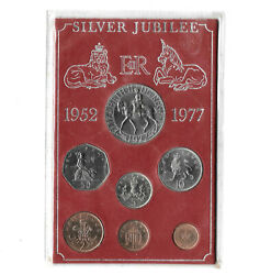 Great Britain Coin Set 1/2 Penny - 50 Pence 1952-1977 Silver Jubilee. B8