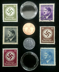 Rare Ww2 German Coins And Stamps Set Of Historical Artifacts - Collectors Set