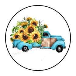 30 Rustic Truck Sunflowers Envelope Seals Labels Party Favors Stickers 1.5