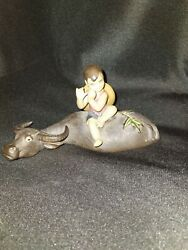 Rare Vintage Ceramic Figurine Shiwan Chinese Boy Playing The Flute On Caribou