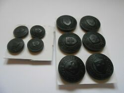 The British Red Cross Society 10 Black Uniform Buttons 6 Large 4 Small